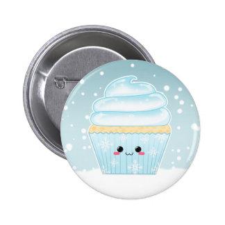 Cute Kawaii Christmas Snowflake cupcake Pinback Buttons