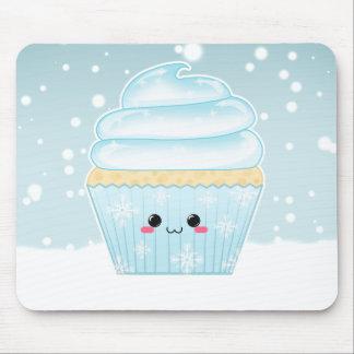 Cute Kawaii Christmas Snowflake cupcake Mouse Pad