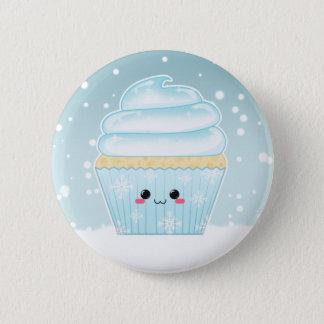 Cute Kawaii Christmas Snowflake cupcake Pinback Button