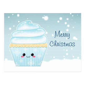 Cute Kawaii Christmas Snowflake cupcake Postcard