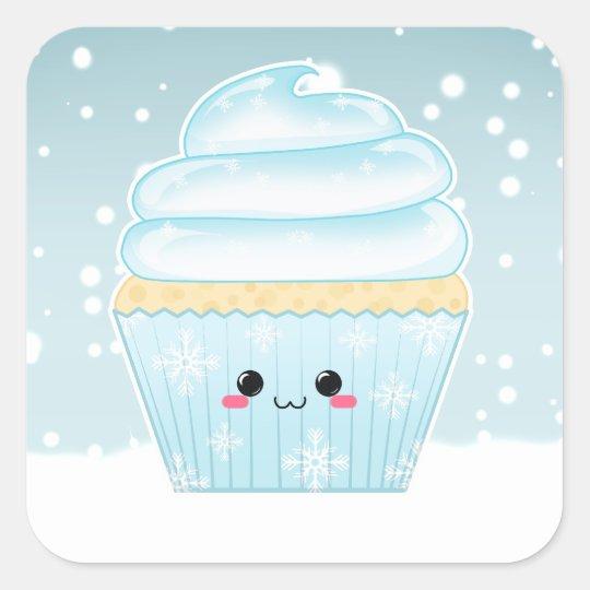 Cute Kawaii Christmas Snowflake cupcake Square Sticker