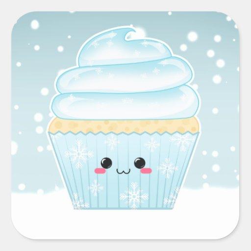 Cute Kawaii Christmas Snowflake cupcake Sticker