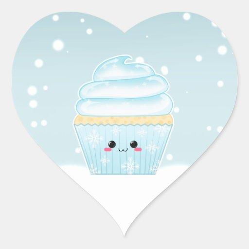 Cute Kawaii Christmas Snowflake cupcake Heart Stickers