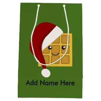 Cute Kawaii Christmas Waffle Wearing a Santa Hat Medium Gift Bag