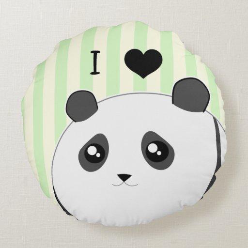 Cute Panda Pillow : Cute Kawaii chubby panda bear Round Pillow Zazzle