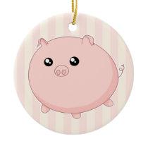 Cute Kawaii chubby pink pig Ceramic Ornament