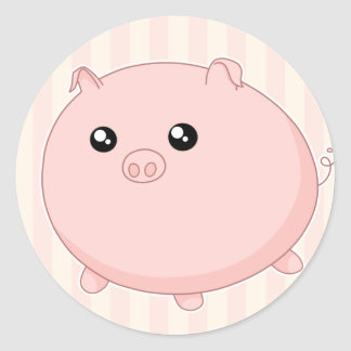 Cute Kawaii chubby pink pig Classic Round Sticker