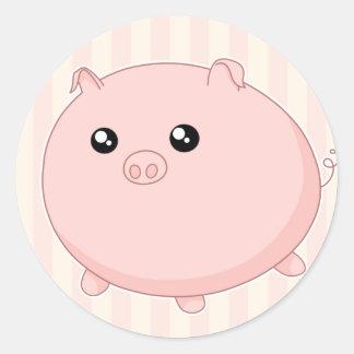 Cute Kawaii chubby pink pig Classic Round Sticker