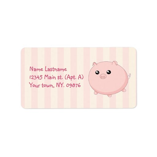 Cute Kawaii chubby pink pig Personalized Address Label