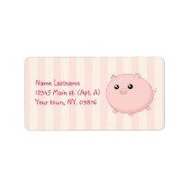 Cute Kawaii chubby pink pig Label