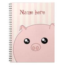 Cute Kawaii chubby pink pig Notebook