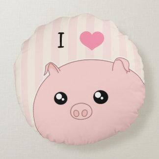 Cute Kawaii chubby pink pig Round Pillow