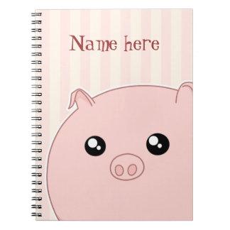Cute Kawaii chubby pink pig Spiral Notebook