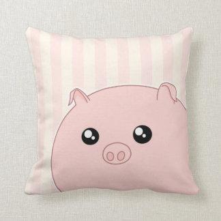 Cute Kawaii chubby pink pig Throw Pillow