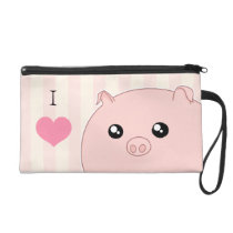 Cute Kawaii chubby pink pig Wristlet Purse