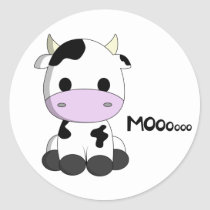 Cute kawaii cow cartoon kids round sticker