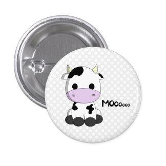Cute kawaii cow cartoon on retro polka dots button