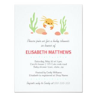 Cute kawaii crab and seaweed neutral baby shower card