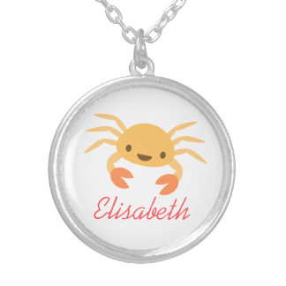 Cute kawaii crab animal cartoon under the sea silver plated necklace