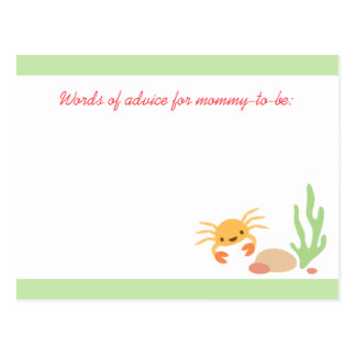 Cute kawaii crab baby shower mommy advice card