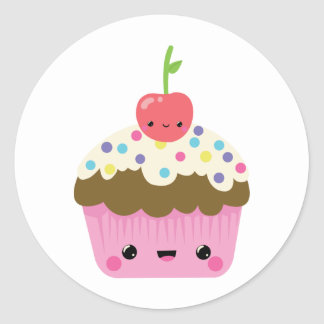 Cute Kawaii Cupcake Classic Round Sticker