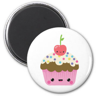 Cute Kawaii Cupcake 2 Inch Round Magnet