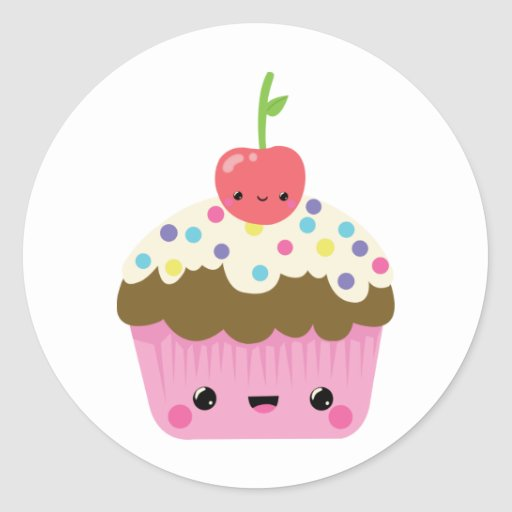 Cute kawaii cupcake stickers zazzle