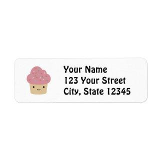Cute Kawaii Cupcake with Pink Icing Label