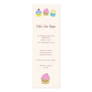 Cute Kawaii Cupcakes in Pastel Colors Double-Sided Mini Business Cards (Pack Of 20)