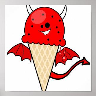 cute kawaii devil ice cream cone with wings print