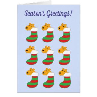 Cute Kawaii Dogs in Christmas Stockings Card