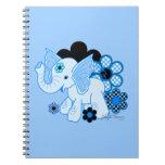 Cute Kawaii Elephant Blue Note Book