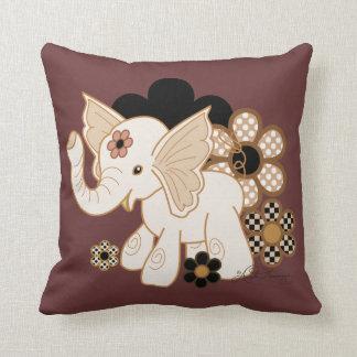Cute Kawaii Elephant Chocolate Brown Throw Pillow