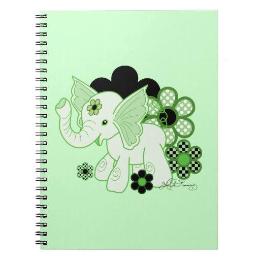 Cute Kawaii Elephant Green Notebook