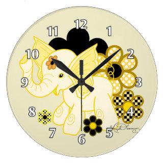 Cute Kawaii Elephant Yellow Large Clock