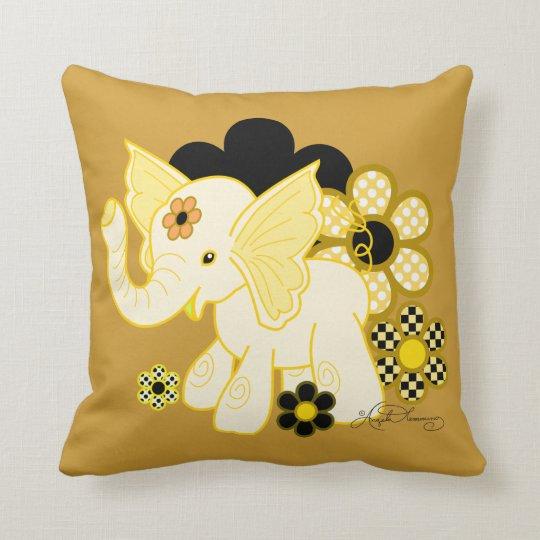 Cute Kawaii Elephant Yellow Throw Pillow