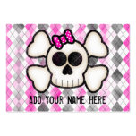 Cute Kawaii Emo Skull and Crossbones on Argyle Large Business Cards (Pack Of 100)