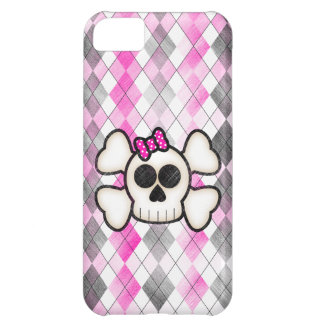 Cute Kawaii Emo Skull and Crossbones on Argyle iPhone 5C Covers