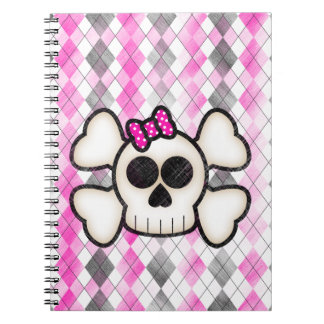 Cute Kawaii Emo Skull and Crossbones on Argyle Spiral Notebook