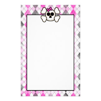 Cute Kawaii Emo Skull and Crossbones on Argyle Stationery