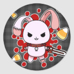 Cute Kawaii evil bunny with chainsaw Classic Round Sticker