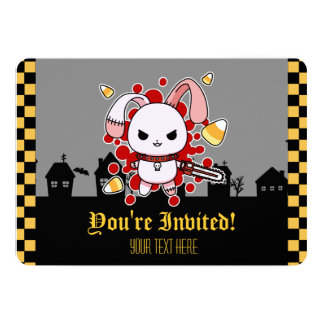 Cute Kawaii evil bunny with chainsaw 5x7 Paper Invitation Card