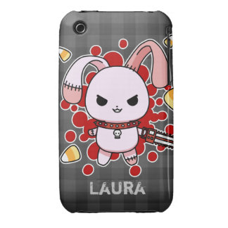 Cute Kawaii evil bunny with chainsaw iPhone 3 Case-Mate Case