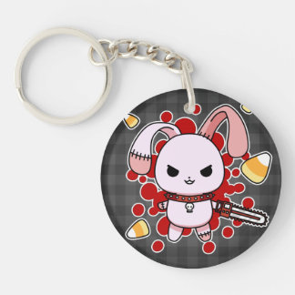 Cute Kawaii evil bunny with chainsaw Round Acrylic Key Chain