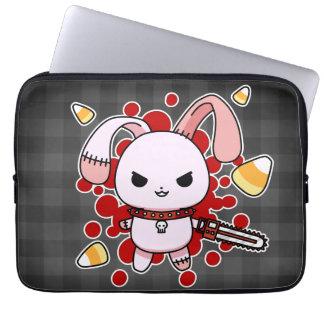Cute Kawaii evil bunny with chainsaw Laptop Sleeves
