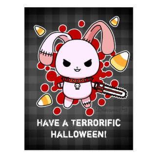 Cute Kawaii evil bunny with chainsaw Post Card