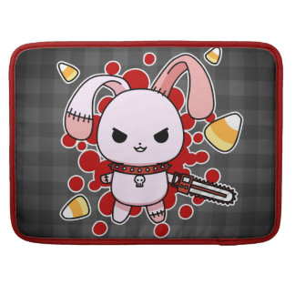 Cute Kawaii evil bunny with chainsaw Sleeves For MacBooks