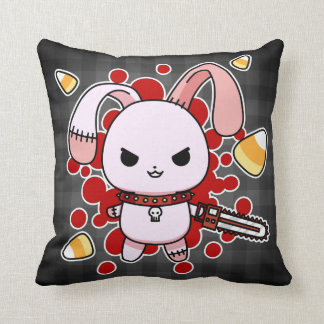 Cute Kawaii evil bunny with chainsaw Throw Pillow
