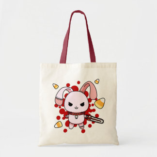 Cute Kawaii evil bunny with chainsaw Tote Bag