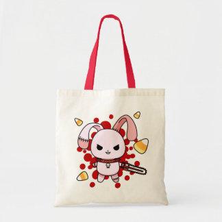 Cute Kawaii evil bunny with chainsaw Tote Bag
